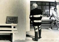 Although this wonderful image (taken in the '80s) is faded with time, this photo I snapped in Surfers Paradise shows Les O'Brien wasn't the type of person who took much notice of signs. Talk about painting the town. Always loved this.