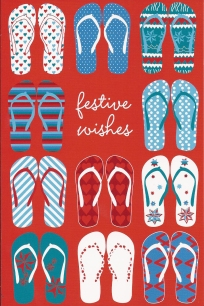 A VERY MERRY ANTIPODEAN CHRISTMAS CARD: This design benefits the National Breast Cancer Foundation and the New Zealand Breast Cancer Foundation. In Australia they're called thongs, in NZ they are jandals.
