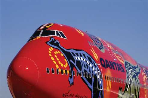 Wunala, one of the indigenous themed Qantas planes already flying.