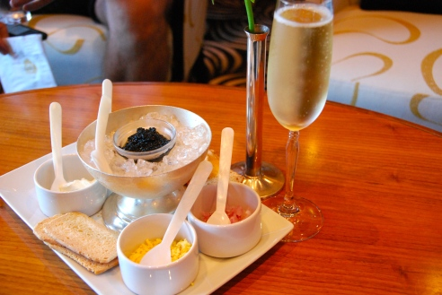 Champagne and caviar in the Veuve Clicquot Champagne Bar.