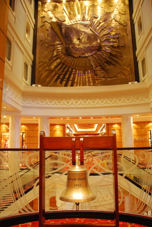 The Grand Lobby, the heart of the Queen Mary 2.