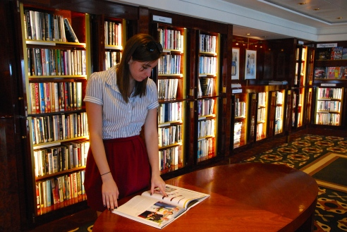 The library on board has more than 8500 books.