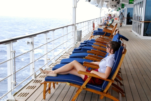 Relaxing on the teak deck.