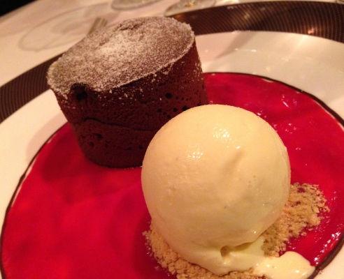 Chocolate Fallen Cake, with vanilla ice-cream and raspberry sauce.