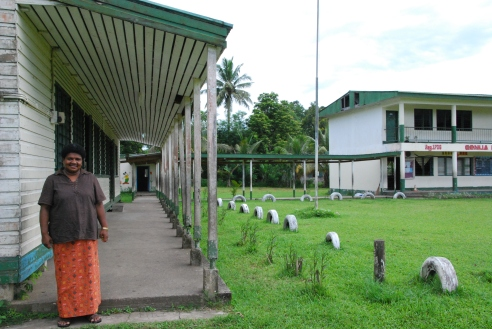 Head teacher Loata Finau, under one of the new walkways at Conua District School