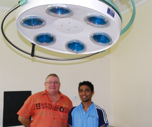 Outrigger on the Lagoon Fiji general manager Peter Hopgood (left) and Dr Amos Zibran, in the new operating theatre at Sigatoka District Hospital.