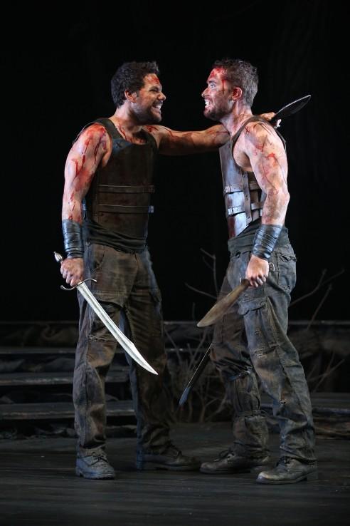 Jason Klarwein as Macbeth and Tama Matheson as Banquo in QTC's production under Michael Attenborough, photo Rob Maccoll