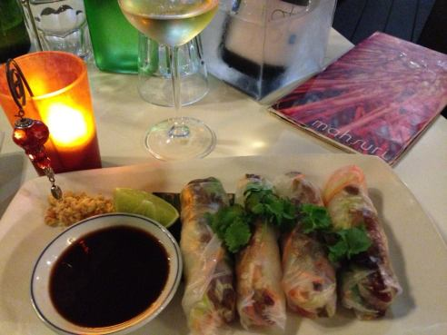 Duck rice paper rolls...just to start with. Dinner at Mahsuri Thai in Salt Village.