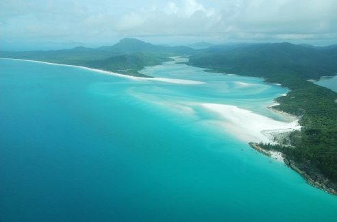 Approaching Whitehaven Beach on Whitsunday Island