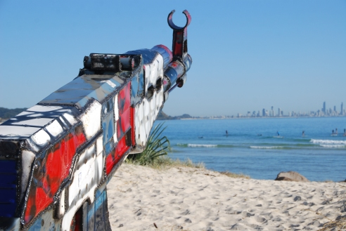 Keeping up with the Kalashnikovs by Daniel Clement (QLD) was the winner of the $15,000 Swell Sculpture Award, presented by the City of Gold Coast.