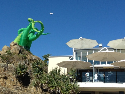 Octopus Attacks by Filthy Luker & Pedro Estrellas (UK). Positioned on the rock above the Surf Club.