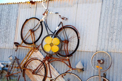 Bicycle art by John Dynon, Silverton, Outback New South Wales, Australia.