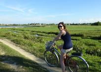 Jess on bike in Vietnam
