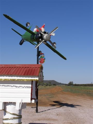 No reindeer required! This Santa is a fixture on the Newell Highway, NSW.