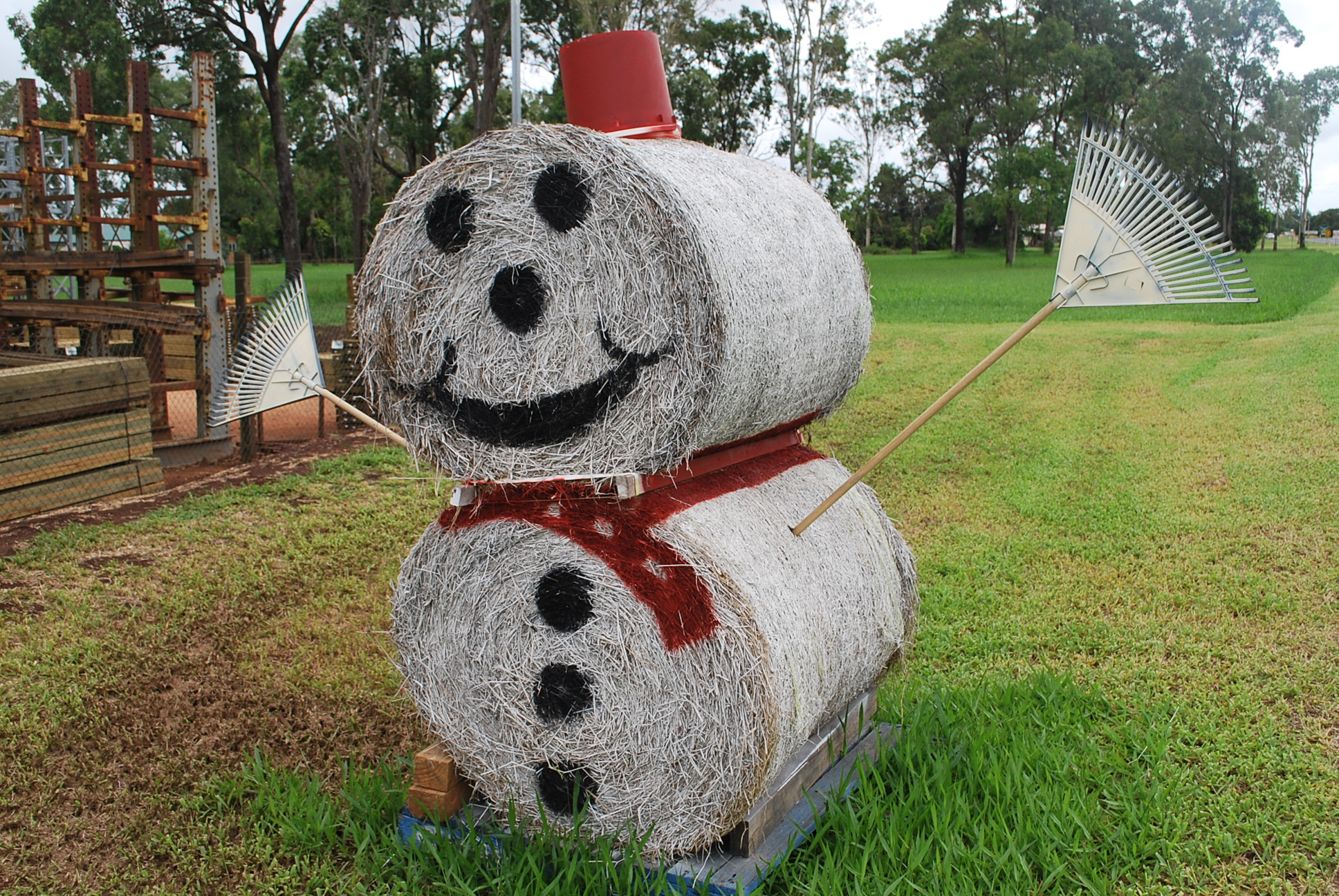 Smiling haybale Santa, Atherton Tablelands, Queensland.
