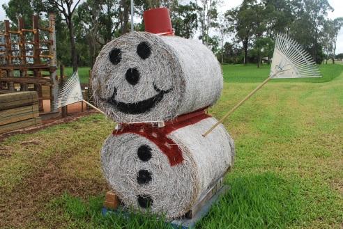 Smiling haybale Santa, Atherton Tablelands, Queensland.