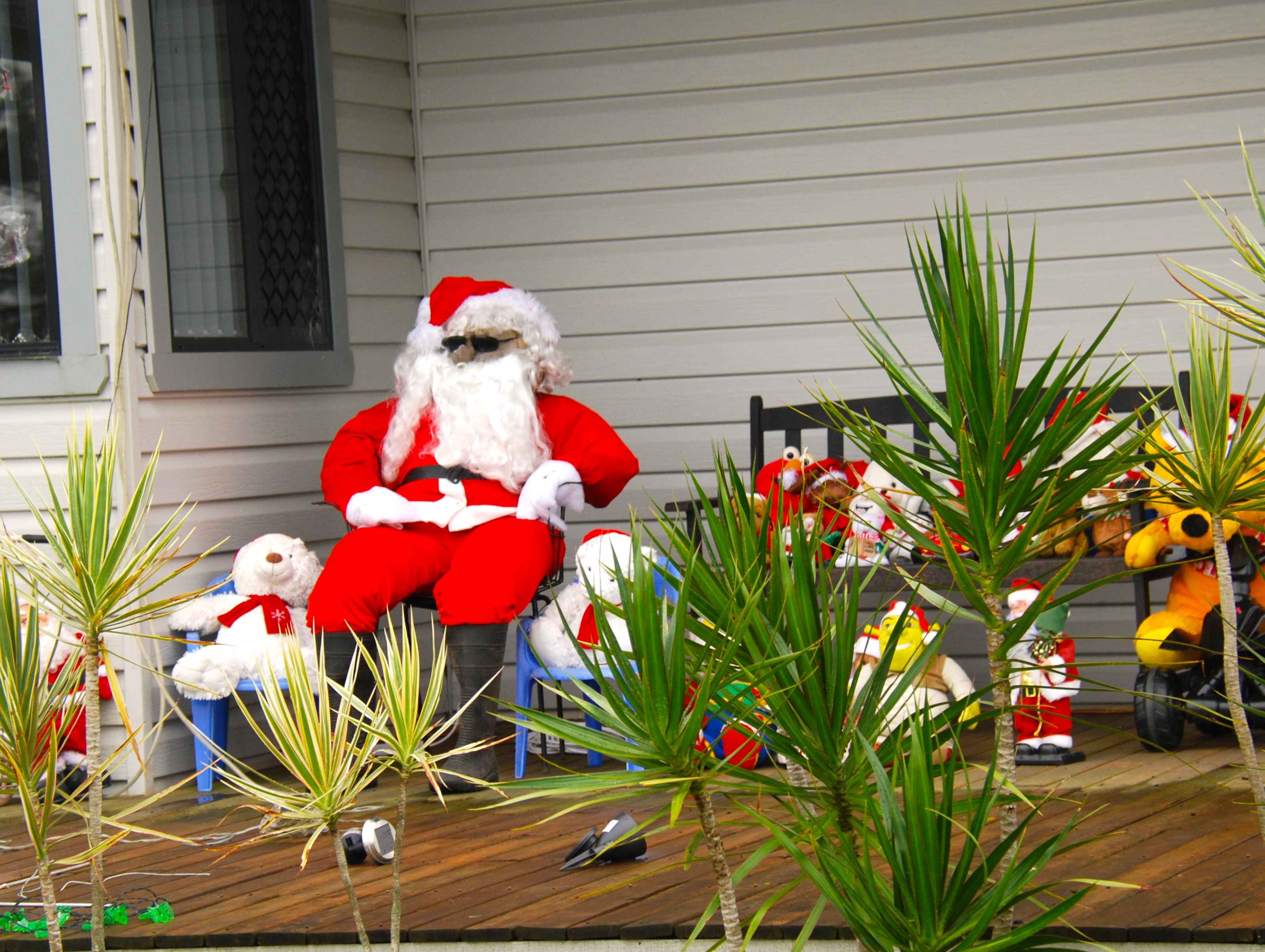 Santa and friends on the farmhouse verandah, Summerland Way, NSW.