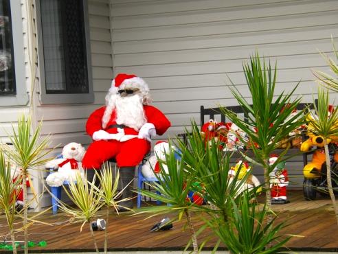 Santa and friends on the farmhouse verandah, Summerland Way, NSW.