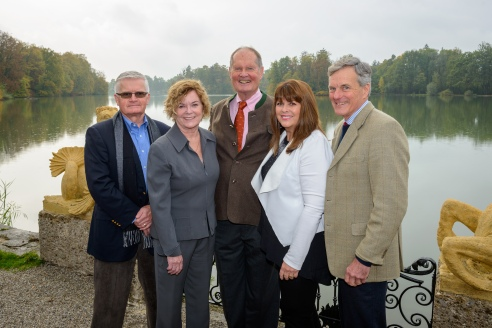 Duane Chase, Heather Menzies, Johannes von Trapp, Debbie Turner, and Nicholas Hammond at the 50th anniversary press conference in Salzburg. (Image courtesy of Tourismus Salzburg)