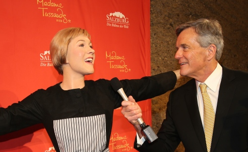 Nicholas Hammond, hamming it up with the waxwork of Dame Julie Andrews.