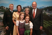 Johannes von Trapp (right) with his wife Lynne, daughter Kristina, her husband Walter Frame and their two daughters Stella and Anne in Salzburg for The Sound of Music's 50th anniversary. (Image: Franz Neumayr)