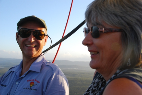 Pilot Graeme Day and I share our delight in ballooning.